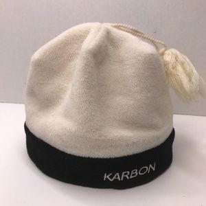 KARBON Fleece Winter Hat Beenie Cream Black Tassel